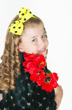 Girl with a bouquet of tulips Stock Photo