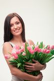 Girl with a bouquet Royalty Free Stock Photography