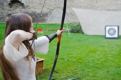 Girl bow archer Royalty Free Stock Images
