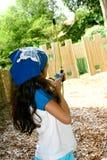 Girl with bow and arrow Stock Photos