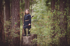 Girl with Bow and Arrows Stock Photo