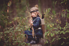 Girl with Bow and Arrows Royalty Free Stock Photo