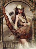 Girl with a bow. Fantasy warrior girl with a bow and arrows stock illustration