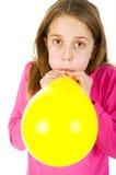 Girl bowing balloon Royalty Free Stock Photos