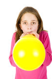 Girl bowing balloon Stock Photos