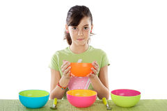 Girl with bowl Royalty Free Stock Photography