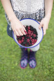Girl With Bowl Of Fresh Wild Blackberries And Raspberries Stock Image