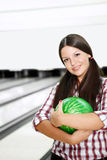 The girl in bowling Stock Image