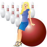 A girl and bowling. Beautiful Vector girl, red ball and pins on a white background Royalty Free Stock Image