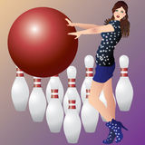 A girl and bowling. Beautiful Vector girl, red ball and skittles Stock Photo