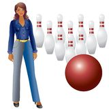 A girl and bowling. A girl in a denim dress, pins and ball bowling on a white background Stock Photography