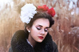 The girl with bows Stock Images