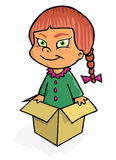Girl in the box. Cartoon artwork line-art with empty balloon Royalty Free Stock Photo
