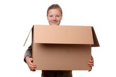 Girl with box Royalty Free Stock Images