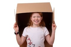 Girl with box Stock Photography
