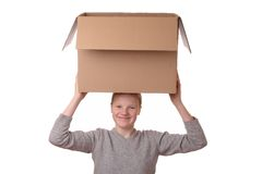 Girl with box Stock Photo