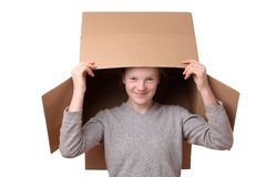 Girl with box Stock Images