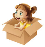 A girl in a box Royalty Free Stock Image