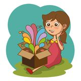 Girl with box and creative ideas Stock Image