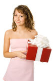 Girl with box gift Royalty Free Stock Image