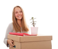 Girl with a box on a head Stock Photo