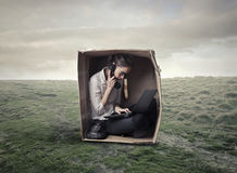 Girl in a box stock images