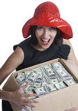 The girl with a box of money Royalty Free Stock Photo