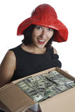 The girl with a box of money Stock Photos