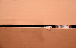 Girl in box. Scared girl hidden in a paper box lurking through a gap stock photography