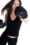 The girl the boxer Stock Photography