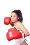Girl Boxer. Female boxer with red gloves isolated over white background Stock Photo