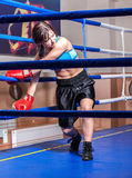 Girl boxer in boxing ring Royalty Free Stock Photo