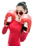 Girl in boxer gloves Royalty Free Stock Photos