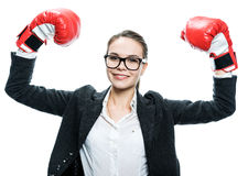 Girl in boxer gloves Stock Images