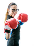 Girl in boxer gloves Stock Image