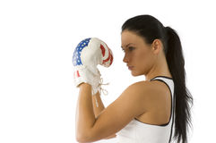 Girl boxer in guard Royalty Free Stock Image