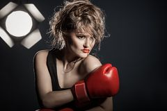 Girl boxer Royalty Free Stock Images