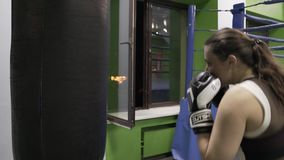 Girl boxer strikes his hands on the Boxing bag stock video