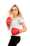 Girl boxer in a white t-shirt Stock Photos