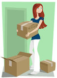 Girl with boxes Stock Photo