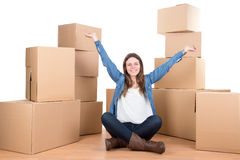 Girl with boxes Stock Photos