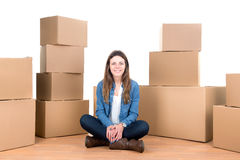 Girl with boxes Royalty Free Stock Image