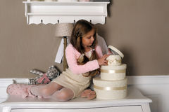 Girl with boxes with gifts Stock Photo