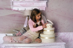 Girl with boxes with gifts Royalty Free Stock Images