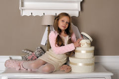 Girl with boxes with gifts Royalty Free Stock Photography