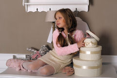 Girl with boxes with gifts Royalty Free Stock Image