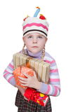 Girl with boxes of gifts in her hands Royalty Free Stock Image