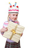 Girl with boxes of gifts in her hands Royalty Free Stock Photography