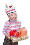 Girl with boxes of gifts in her hands Stock Photo