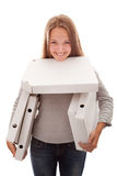 The girl and boxes for a pizza Stock Photo